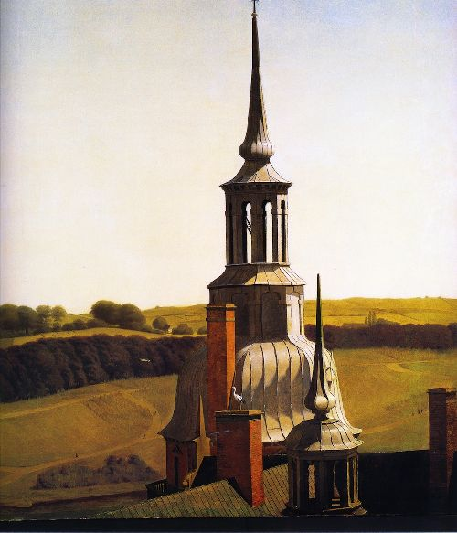 One of the Small Towers of Fredericksborg Castle   Christen Kobke   oil painting