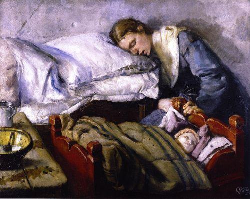 Sleeping Mother   Christian Krohg   oil painting