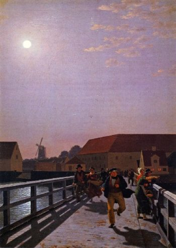 Long Bridge Copenhagen in the Moonlight | Christoffer Wilhelm Eckersberg | oil painting