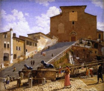 The Marble Steps Leading Up to Santa Maria in Aracoeli in Rome | Christoffer Wilhelm Eckersberg | oil painting