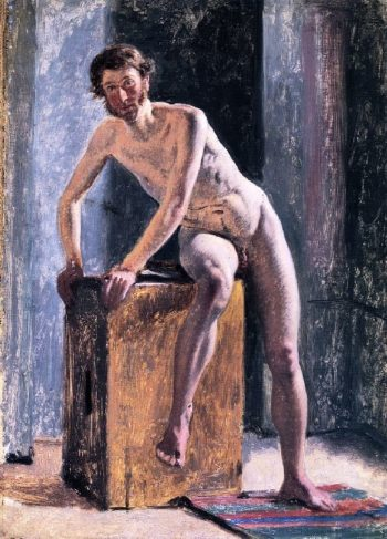 Male Model Sitting on a Box | Constantin Hansen | oil painting