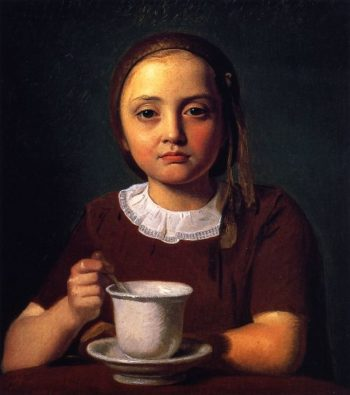 Portrait of a Little Girl Elise Kobke with a Cup in Front of Her | Constantin Hansen | oil painting