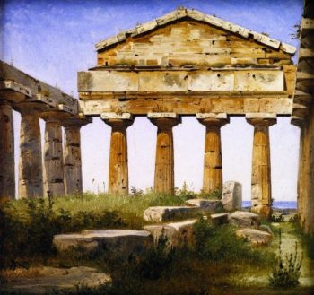 The Temple of Athena at Paestum | Constantin Hansen | oil painting