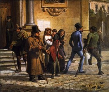 An Englishman Pursued by Beggars in Rome | Wilhelm Marstrand | oil painting