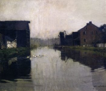 Misty Day on the Canal | William Langson Lathrop | oil painting