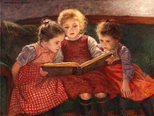 Three reading girls | Walter Elmer Schofield | oil painting