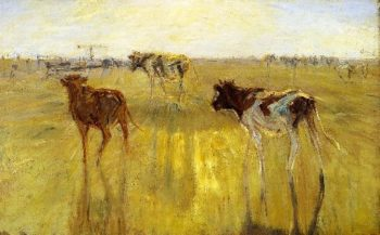 Cattle Seen Against the Sun on the Island of Saltholm A Color Study | Theodor Philipsen | oil painting