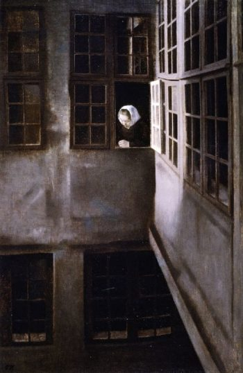 Courtyard Interior at Strandgade 30 | Vilhelm Hammershoi | oil painting