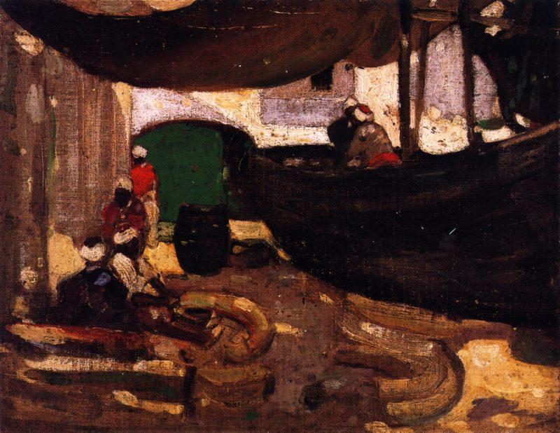 Arab Fishermen and Boats | John Duncan Fergusson | oil painting