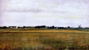 Landscape from Virum near Fredericksdal summer | Vilhelm Hammershoi | oil painting