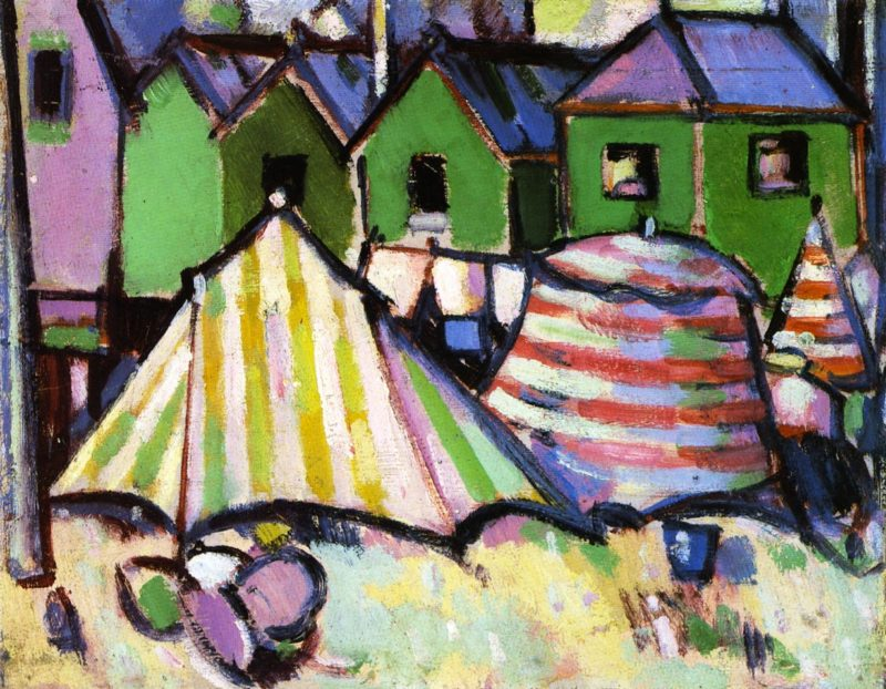Bathing Boxes and Tents at St Palais | John Duncan Fergusson | oil painting
