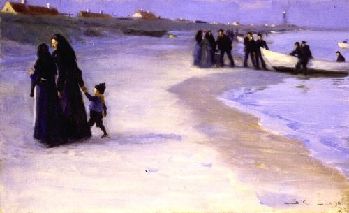 A White Boat at the Shoreline Late Summer Evening   Peder Severin Kroyer   oil painting