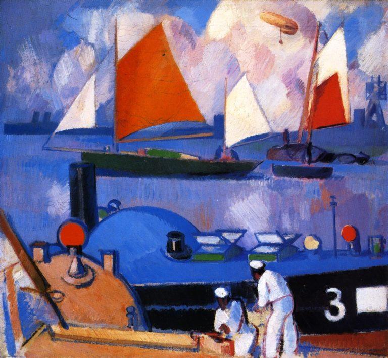 Blue Submarine Portsmouth Harbour | John Duncan Fergusson | oil painting