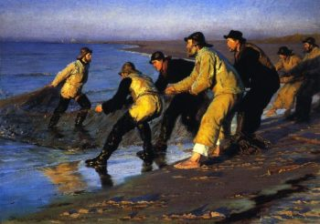 Fishermen Hauling the Net on Skagens North Beach | Peder Severin Kroyer | oil painting