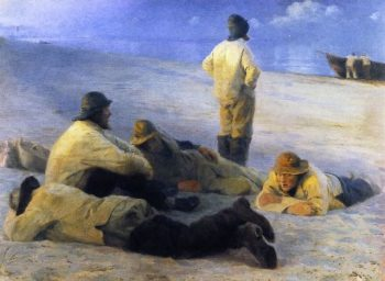 Fishermen on Skagens Beach | Peder Severin Kroyer | oil painting