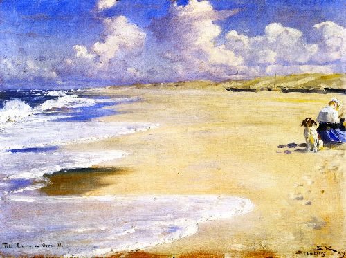 Marie Kroyer Painting on the Beach at Stenbjerg | Peder Severin Kroyer | oil painting
