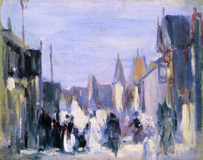 French Village with Figures | John Duncan Fergusson | oil painting