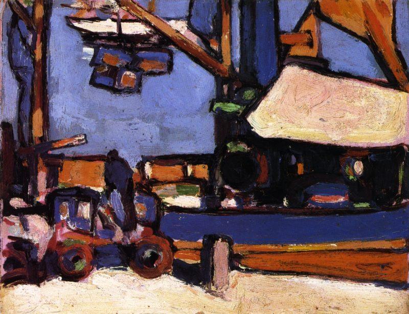 Loading in Royan Harbour   John Duncan Fergusson   oil painting