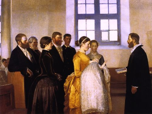 A Christening | Michael Peter Ancher | oil painting
