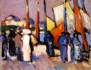 People and Sails at Royan | John Duncan Fergusson | oil painting