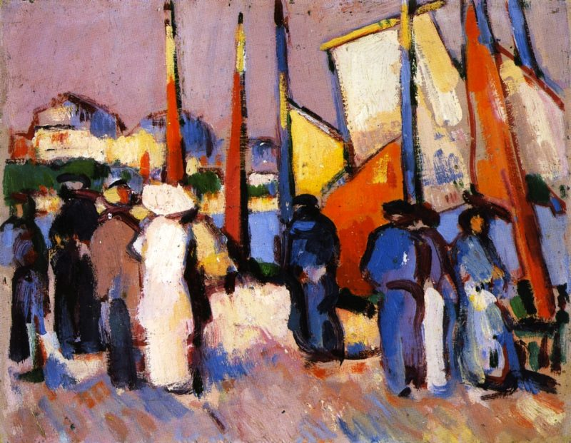 People and Sails at Royan   John Duncan Fergusson   oil painting