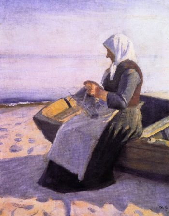 Fishermans Wife Knitting on Skagen Beach | Michael Peter Ancher | oil painting