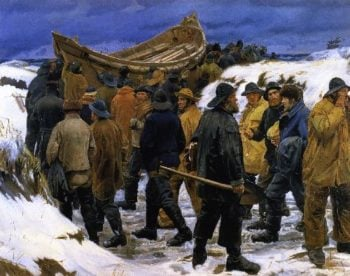 Taking the Lifeboat Through the Dunes | Michael Peter Ancher | oil painting