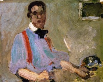 Red Braces Self Portrait | John Duncan Fergusson | oil painting