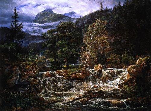 Norwegian Mountain Landscape with Waterfall | Johan Christian Dahl | oil painting