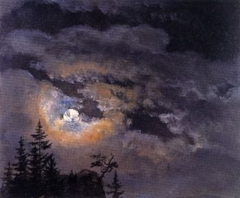 Study of Clouds at Full Moon | Johan Christian Dahl | oil painting