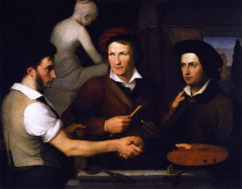 Self Portrait with His Brother Rifolfo and Bertel Thorvaldsen | Friedrich Wilhelm Schadow | oil painting