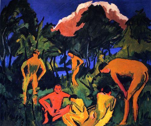 Akte in der Sonne Moritzburg | Ernst Ludwig Kirchner | oil painting