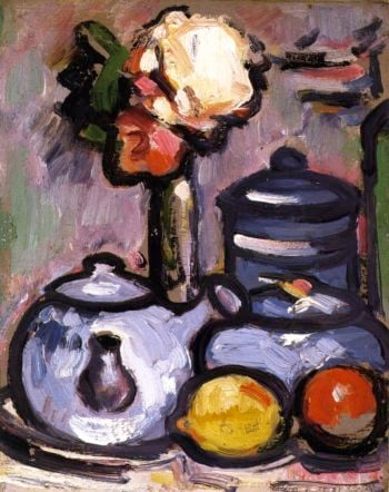 Still LIfe Teapot with Flowers and Fruit | John Duncan Fergusson | oil painting