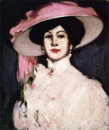 The Hat with the Pink Scarf | John Duncan Fergusson | oil painting