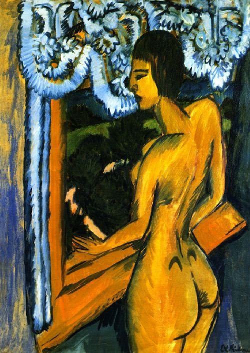 Brauner Akt am Fenster | Ernst Ludwig Kirchner | oil painting
