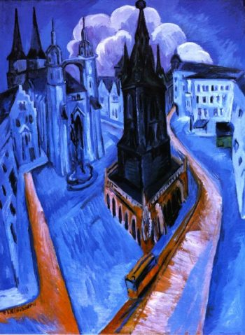 Der Rote Turm in Halle | Ernst Ludwig Kirchner | oil painting