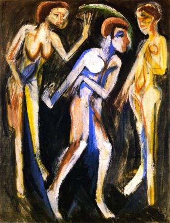 Der Tanz zwischen den Frauen | Ernst Ludwig Kirchner | oil painting