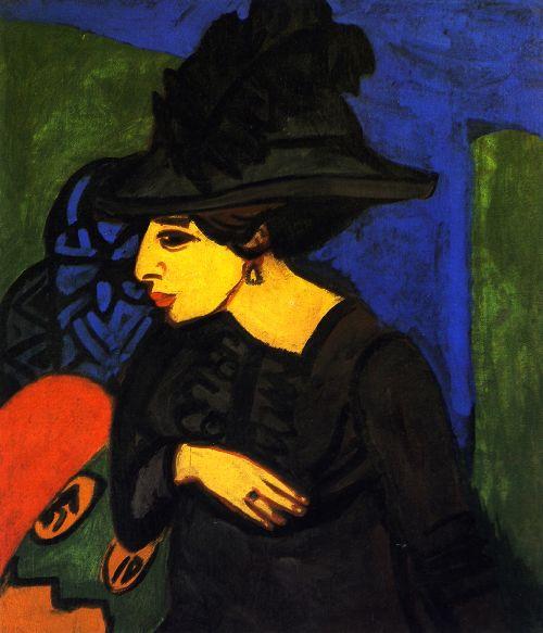 Dodo mit grobem Federhut | Ernst Ludwig Kirchner | oil painting
