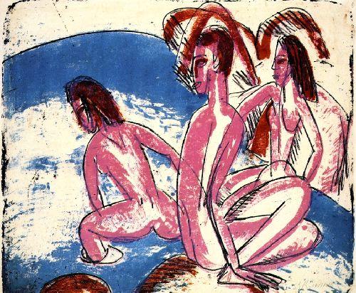 Drei Badende an Steinen   Ernst Ludwig Kirchner   oil painting