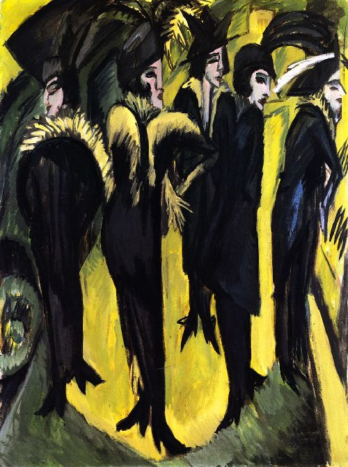 Five Women on the Street   Ernst Ludwig Kirchner   oil painting