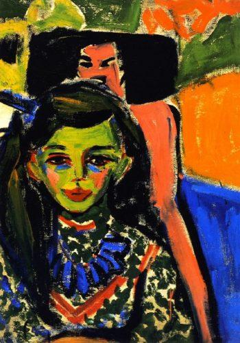 Franzi vor geschnitztem Stuhl | Ernst Ludwig Kirchner | oil painting