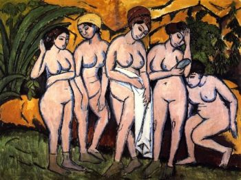 Funf Badende am See | Ernst Ludwig Kirchner | oil painting