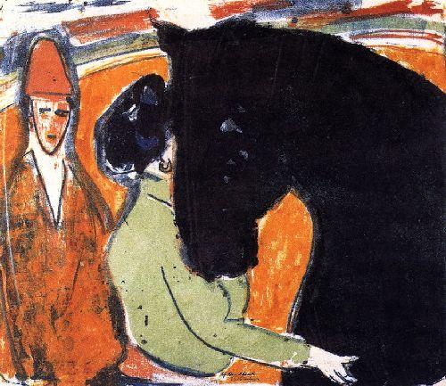 Rapphengst Reiterin und Clown | Ernst Ludwig Kirchner | oil painting