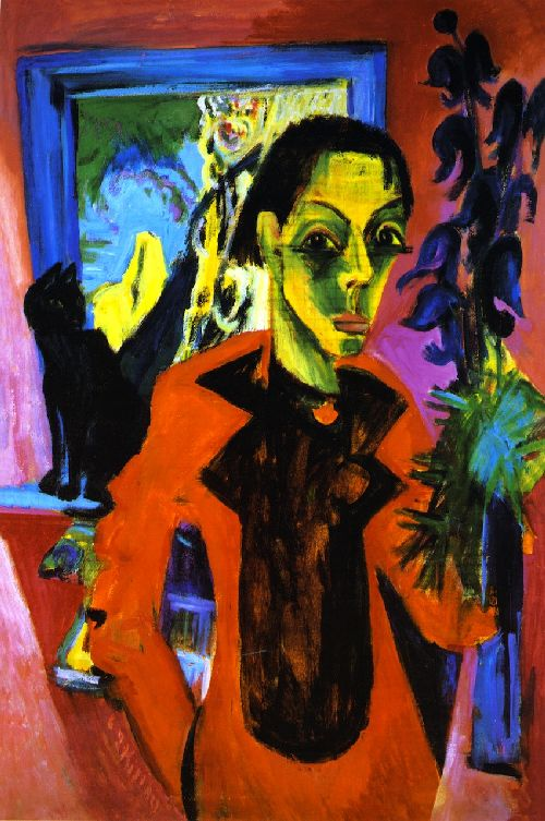 Self Portrait with Cat | Ernst Ludwig Kirchner | oil painting
