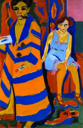 Self Portrait with Model | Ernst Ludwig Kirchner | oil painting