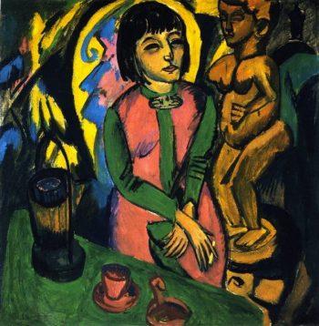 Sitzende Frau mit Holzplastik | Ernst Ludwig Kirchner | oil painting