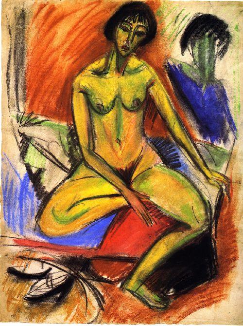 Sitzender weiblicher Akt | Ernst Ludwig Kirchner | oil painting