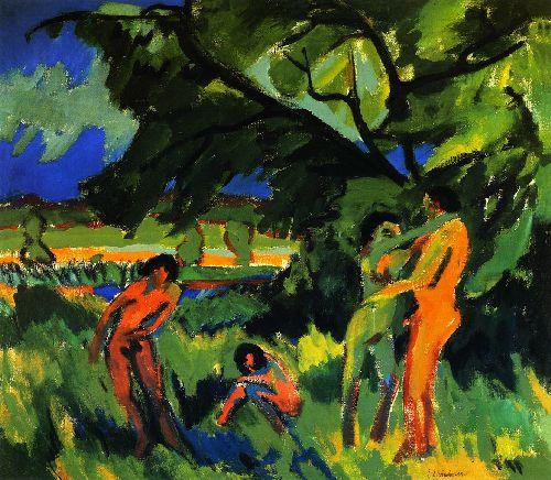 Spielende nachte Manschen unter Baum | Ernst Ludwig Kirchner | oil painting