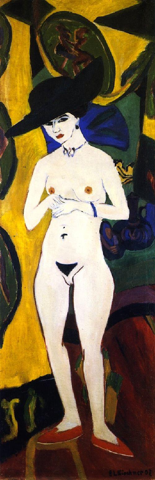 Stehender Akt mit Hut   Ernst Ludwig Kirchner   oil painting