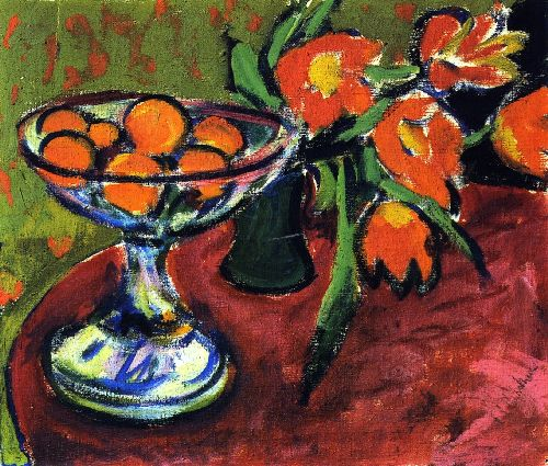 Still LIfe with Oranges and Tulips | Ernst Ludwig Kirchner | oil painting
